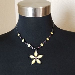 Yellow Beaded Flower Black Tone Chain Necklace